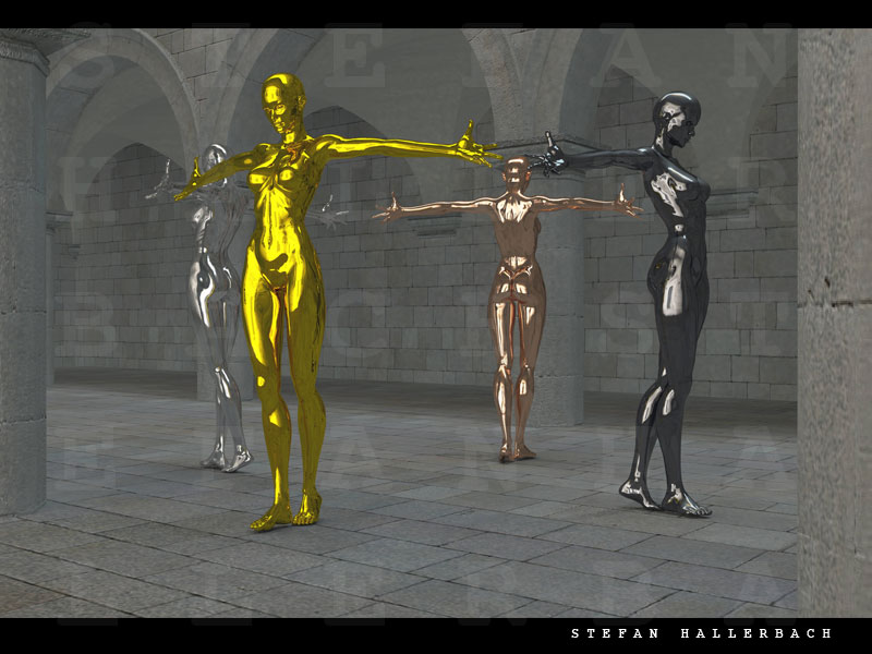 4 Frauen, 3D Kunst Stefan Hallerbach