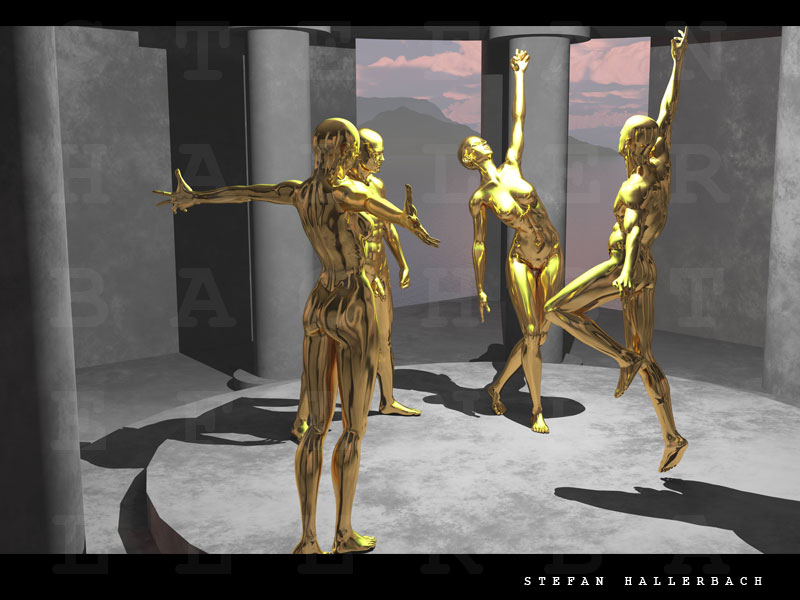 Tempel der goldenen Tänzer, 3D Kunst Stefan Hallerbach