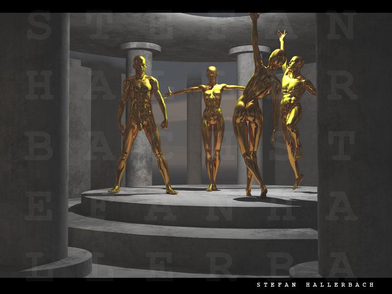 Im Tempel der goldenen Tänzer, 3D Kunst Stefan Hallerbach