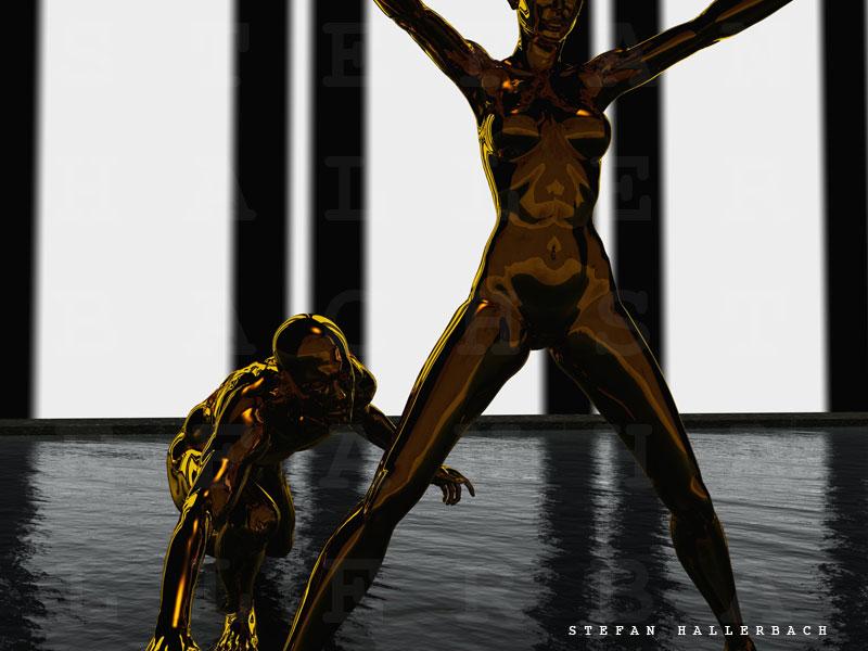 Human Metal, nackt in Gold, 3D Kunst Stefan Hallerbach